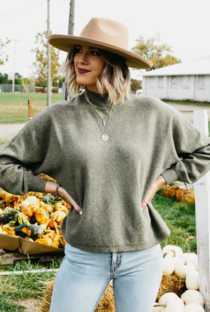 The Jeane Puff Sleeve Sweater - Olive