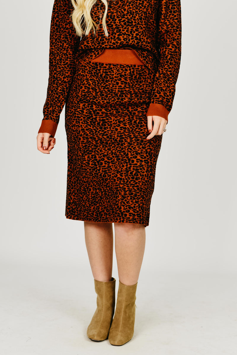 The Evan Sweater Skirt - Brown Leopard