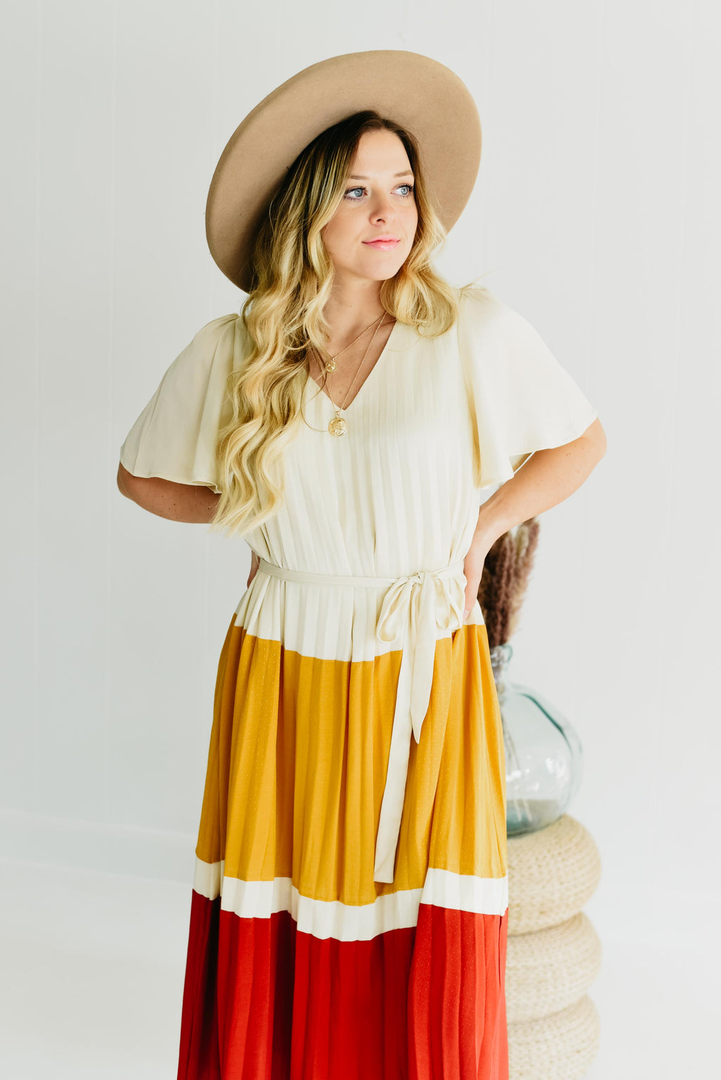 The Veronica Pleated Dress - Ivory Multi