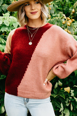 The Roscoe Sweater - Burgundy/Dusty Rose