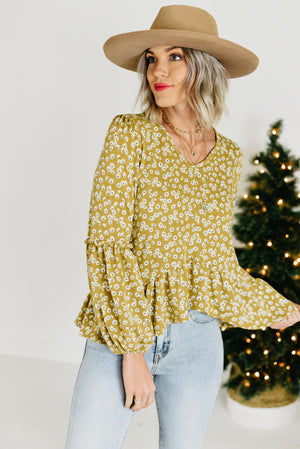The Zoey Ruffled Top - Mustard