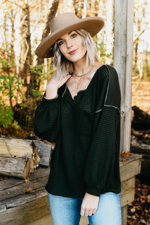 The Chetney Waffle Top - Olive