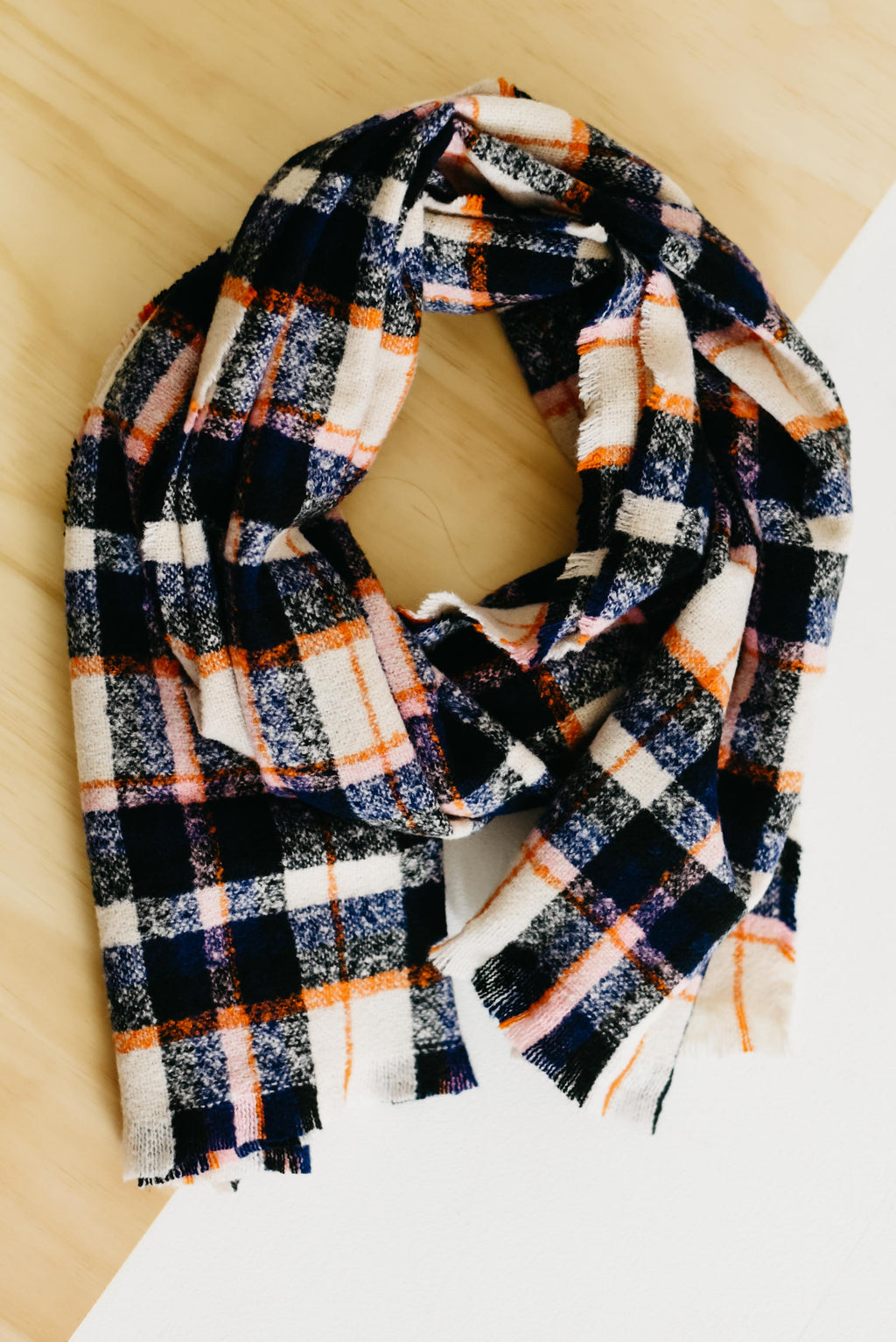 The Kamila Triangle Scarf - Navy Multi