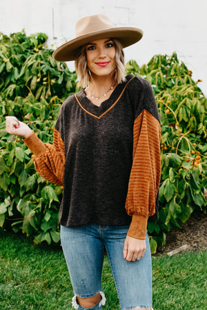 The Candice Dolman Mix Media Top - Charcoal