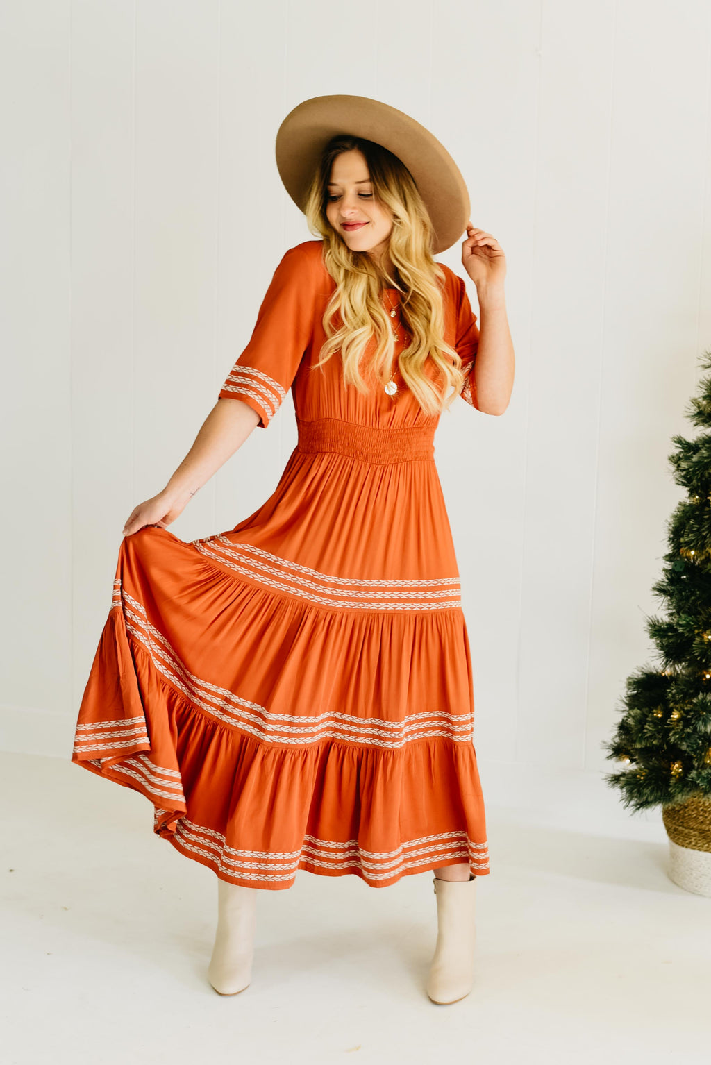 The Dilly Embroidered Dress - Rust