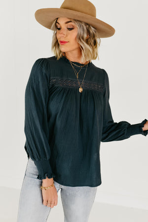 The Dayna Eyelet Ruffle Blouse - Charcoal Teal