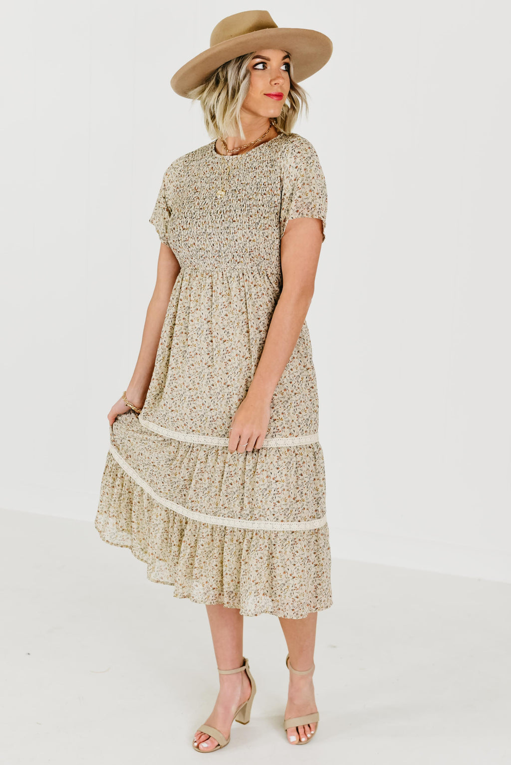 The Zahara Smocked Bodice Dress - Taupe Multi