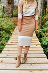 The Miranda Sweater Skirt - Taupe Multi