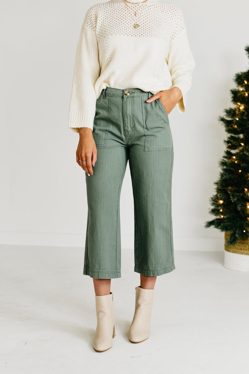 The Kirby Wide Leg Denim Pants - Olive