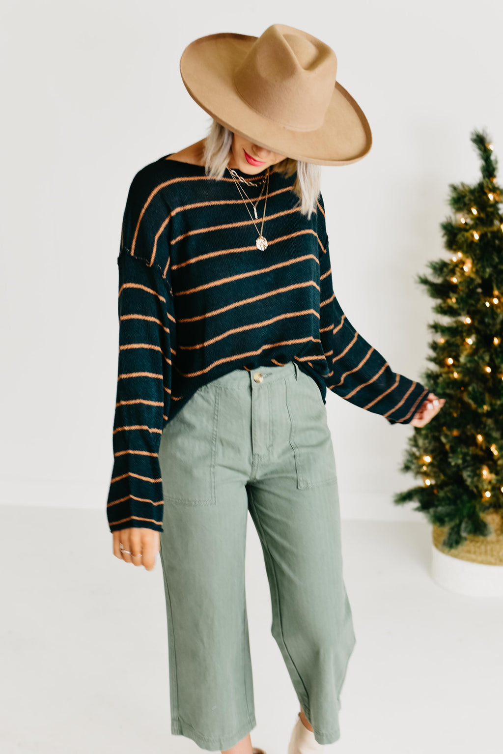 The Rosalie Striped Sweater - Hunter Green