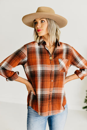 The Amia Plaid Top - Ginger