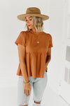 (MOD Exclusive) The Asa Ruffle Neck Top - Terra Cotta