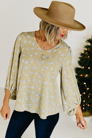 The Olivia Floral Blouse - Taupe
