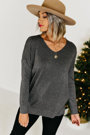 The Raelynn Seam Sweater - Charcoal