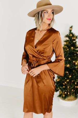 The Phoebe Satin Dress - Chocolate