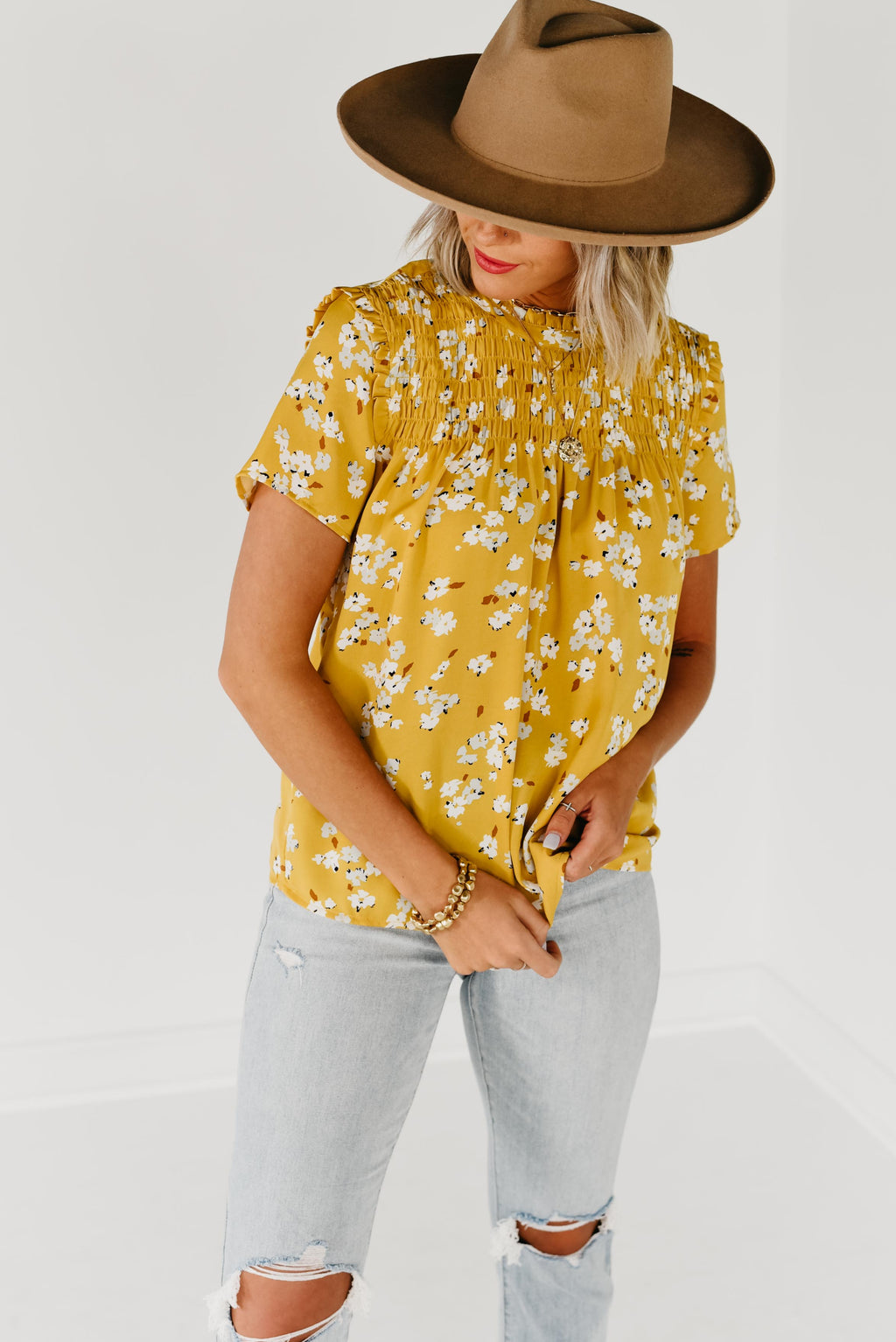 (MOD Exclusive) The Maxwell Smock Yoke Top - Mustard