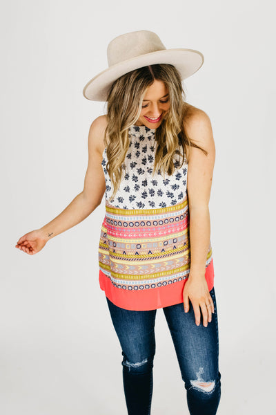 The Perth Tie Back Printed Halter Tank-Pink Multi