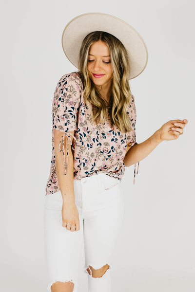 The Emu Floral Tie Sleeve Blouse Top-Pink