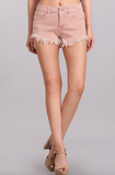 dusty pink frayed denim short