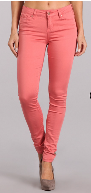 colored skinny in faded rose - MOD Boutique