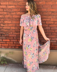 mauve floral maxi with ruffle cinch and tie neck - MOD Boutique