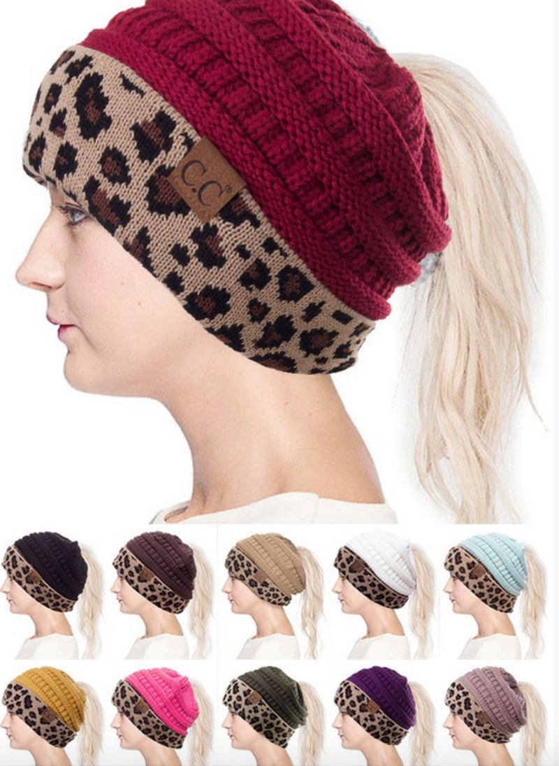 C.C. Knitted Mesh Beanie with Leopard Cuff-3 Colors