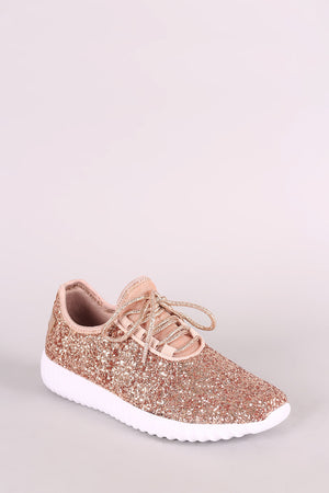 Encrusted Sparkling Glitter Lace Up Rigged Sneaker
