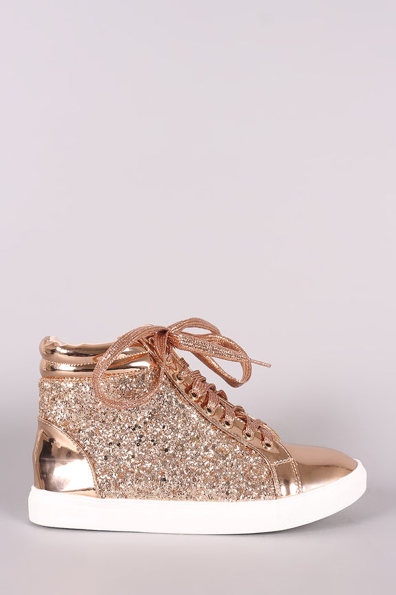 Encrusted-Glitter Lace Up High Top Sneaker