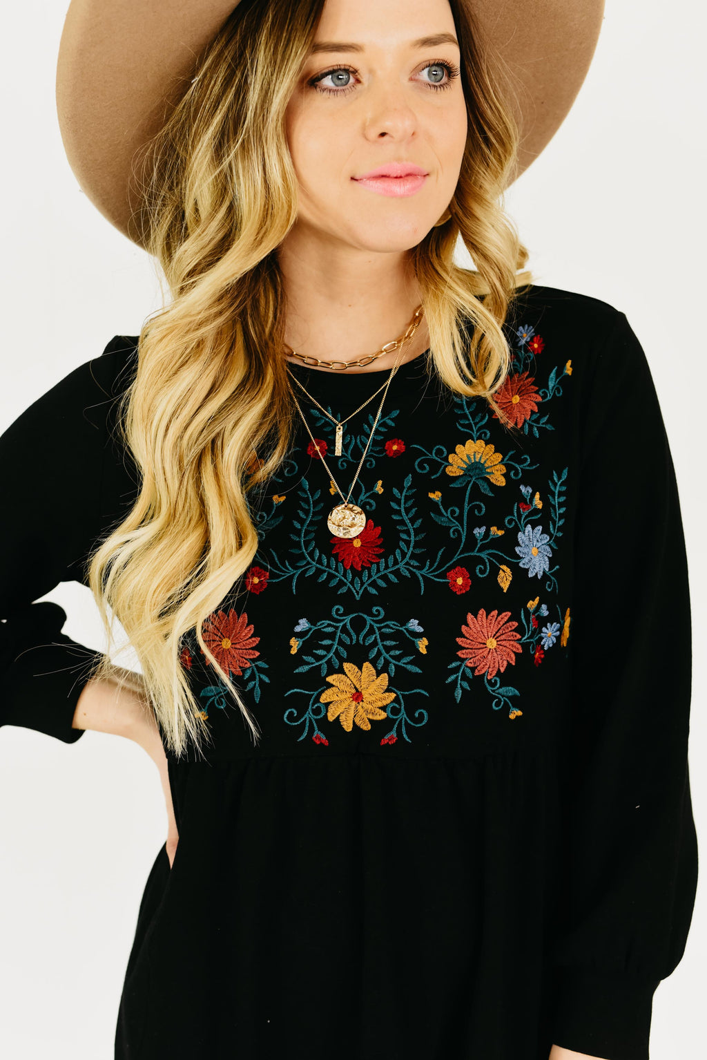 The Reign Embroidered Dress - Black