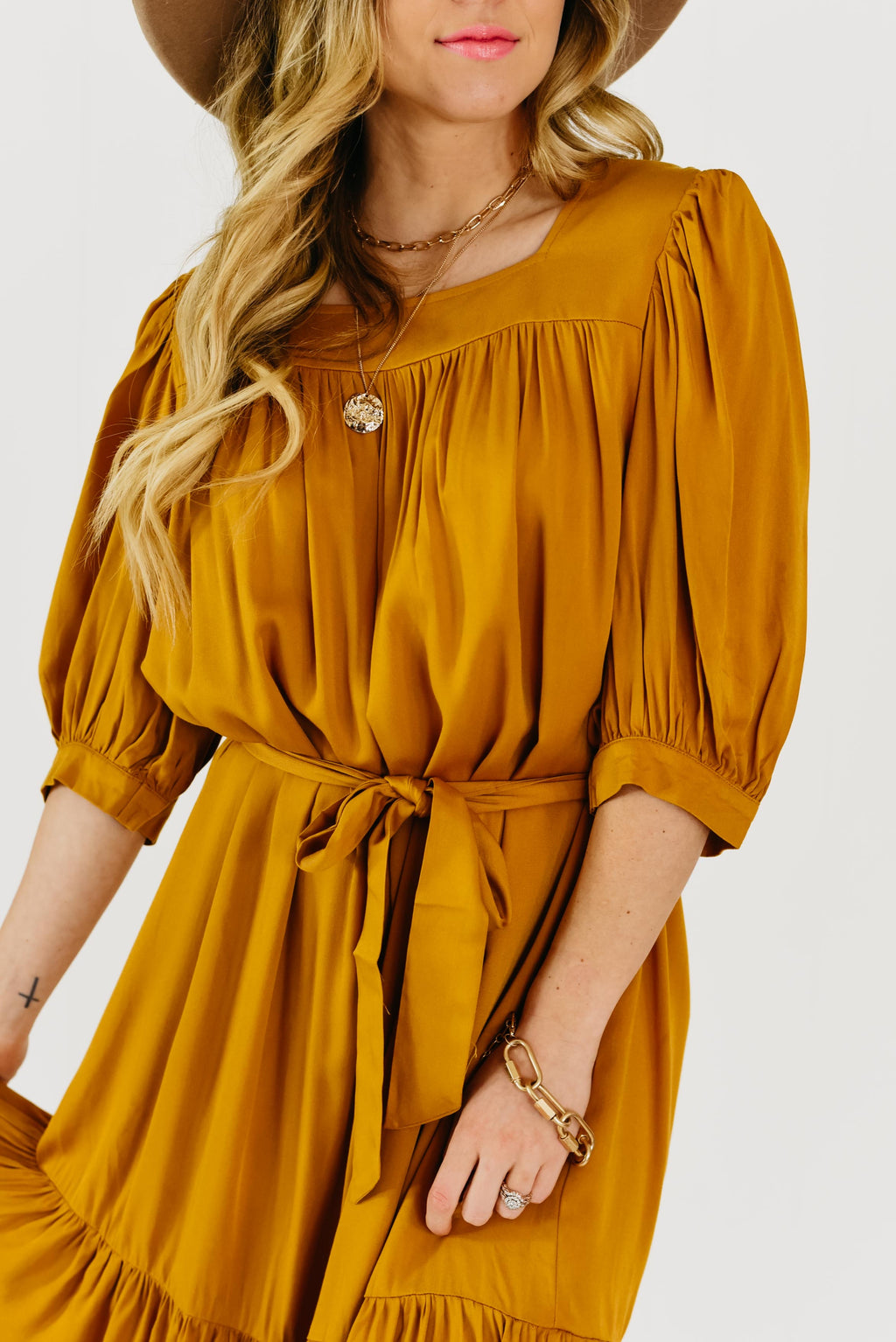 The Markie Tiered Dress - Mustard