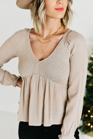 The Alissa Smocked Babydoll Top - Taupe