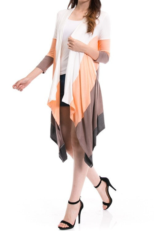Solid Colorblock Handkerchief Long Cardigan - MOD Boutique