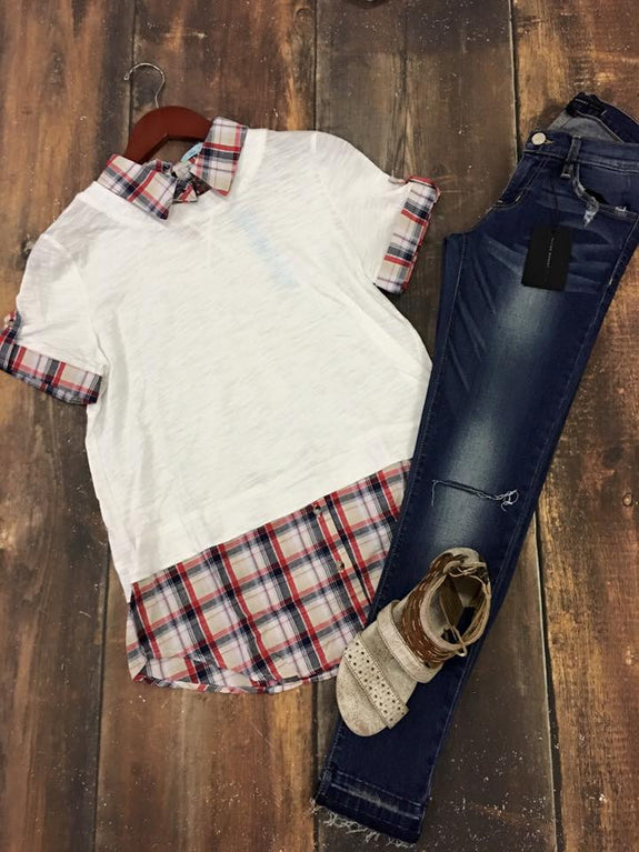 Ivory/Plaid Contrast Top - MOD Boutique