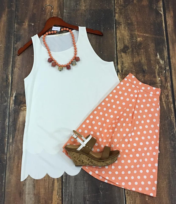 Peach Polka Dot Skirt - MOD Boutique
