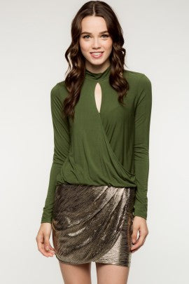 Olive Mock Wrap Knit Top