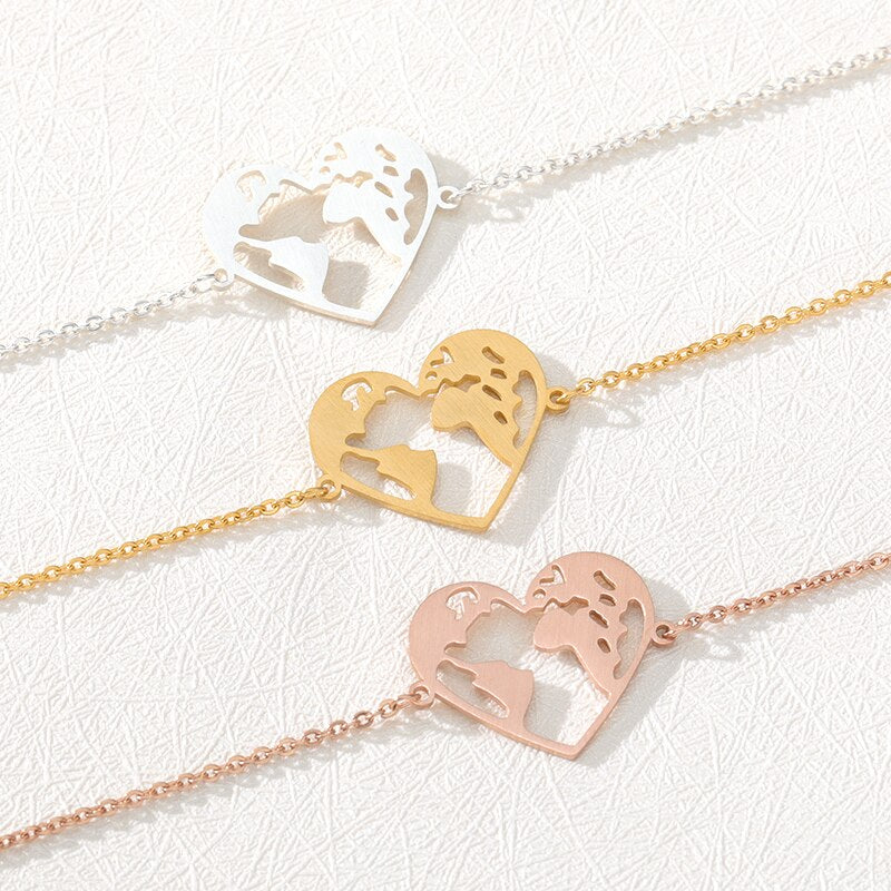 Heart World Map Bracelet