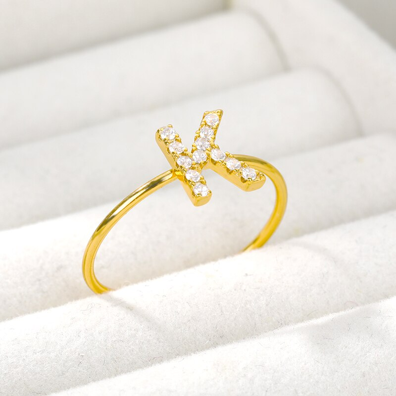 Crystal Letter Ring