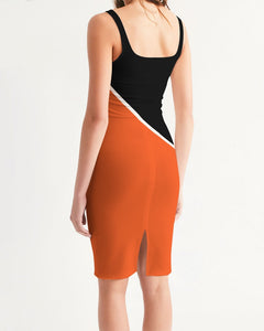 DMC Florida Orange Women's Midi Bodycon Dress