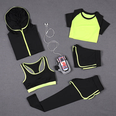 5 PCS Women Yoga Set for Running T-Shirt Tops Sports Bra Vest Fitness Pants Short sleeve Shorts Pant Gym Workout Sports Suit Set - Ikan Apparel