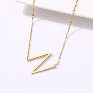gold monogram initial necklace N