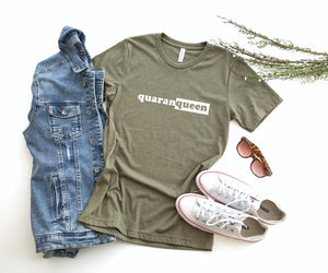 Quarantine Design Shirt in Olive Green, Queen Print Shirt, Graphic Tee