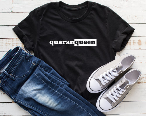 Quarantine Design Shirt in Black, Queen Print Shirt, Graphic Tee
