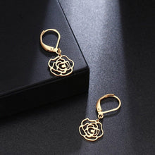 Load image into Gallery viewer, Rose Drop Earrings (Gold)