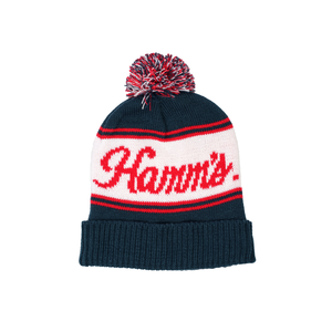 Navy Hamm's Pom Beanie with Red and White Stripes