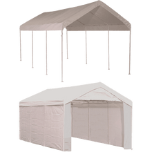 "Load image into Gallery viewer, ShelterLogic 10'×20' Canopy, 1-3/8"" 8-Leg Frame, White Cover, Enclosure Kit"