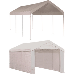 "ShelterLogic 10'×20' Canopy, 1-3/8"" 8-Leg Frame, White Cover, Enclosure Kit"