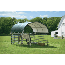 "Load image into Gallery viewer, ShelterLogic 12x12 Corral Shelter - Powder Coated 1-5/8"" Steel Frame, 9 oz Green PE"