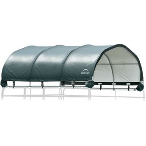 "ShelterLogic 12x12 Corral Shelter - Powder Coated 1-5/8"" Steel Frame, 9 oz Green PE"