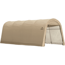 "Load image into Gallery viewer, ShelterLogic 10x15x8 ft. / 3x4,6x2,4 m  Round Style Auto Shelter, 1-3/8"" / 3,5 cm 4-Rib Frame, Sandstone Cover"