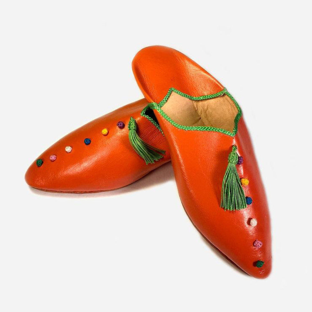 Marché Berber Pointy Babouche in Orange